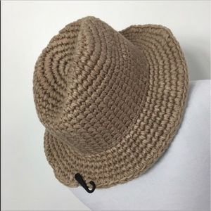 D&Y crocheted Panama brim boho hat in taupe NEW!